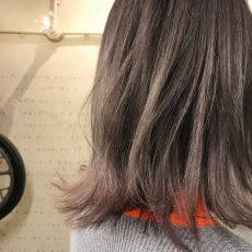 パープルグレーのヘアカラー